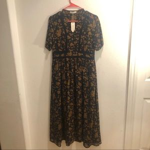 Roolee Maxi Navy and Khaki Floral Dress
